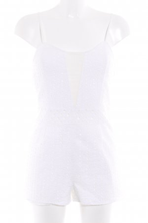 Pins and Needles Jumpsuit white loosely knitted pattern romantic style