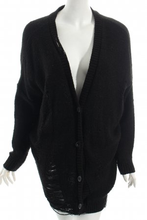 Pins and Needles Strick Cardigan schwarz Destroy-Optik