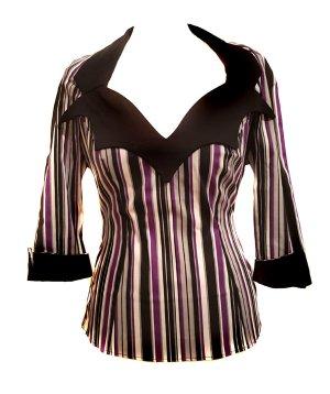 Pinup Couture Bluse retro vintage Rockabilly gestreift Gothic