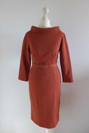 Pinup Couture Vintage Look Stretch Bleistift Kleid 30er 40er rostrot Gr. XS 34 36
