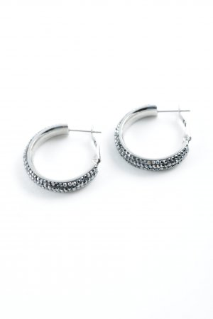 Pippa & Jean Ear Hoops silver-colored-dark grey glittery
