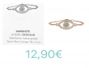 Pippa&Jean Hamsa Eye Armkettchen Roségold Resin