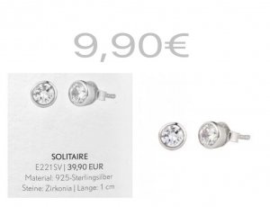 Pippa&Jean Solitaire Ohrstecker 925 Sterling Silber