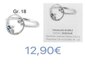 Pippa&Jean Twinkling Bubble Ring Silber Gr.18