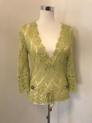 Pull en crochet jaune citron vert fibre synthétique