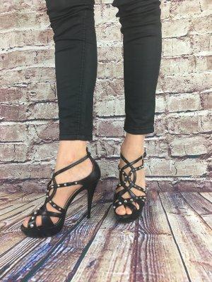 Platform High-Heeled Sandal black-silver-colored
