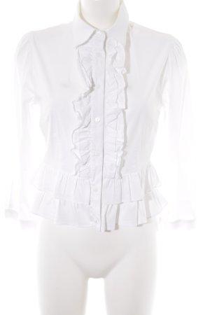 Piú & Piú Blusa con volantes blanco elegante