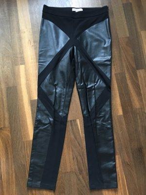 PIU & PIU Stoffhose mit Lederbesatz, schwarz