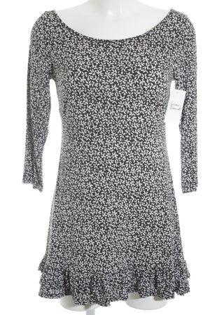 Piú & Piú Stretchkleid weiß-schwarz florales Muster Casual-Look