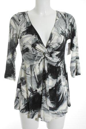 Piú & Piú V-Ausschnitt-Shirt abstraktes Muster Elegant