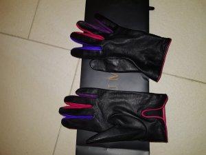 Piumelli Milano Lederhandschuh schwarz /bunt Gr.7 neu