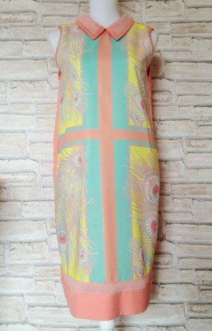 Plains & Prints Kleid Bubikragen Pastellfarben gerader Schnitt korallfarben