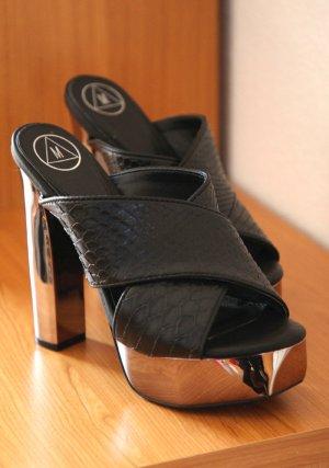Missguided Mule à talon noir-argenté faux cuir