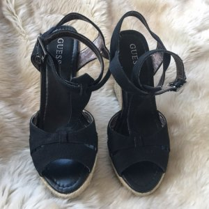 Plateau Espadrille Sandale schwarz Stoff/Leder