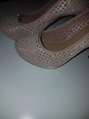plateau heels nude gold