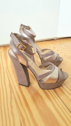 Plateau High heels 38 gold und grau-braun Sandaletten