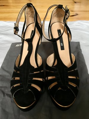 H&M Platform High-Heeled Sandal black-gold-colored