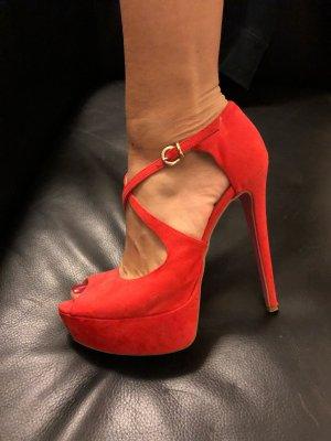 Sandalo alto con plateau rosso-rosa