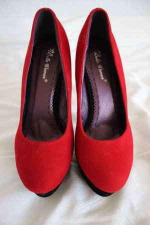 Plateau High Heels rot schwarz