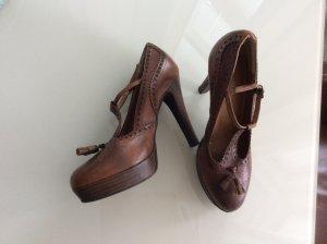 Plateau High Heels Schuhe  von Laura in schönem Braunton /Echtleder