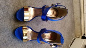 Platform High-Heeled Sandal blue-gold-colored satin