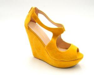 Platform High-Heeled Sandal dark yellow imitation leather