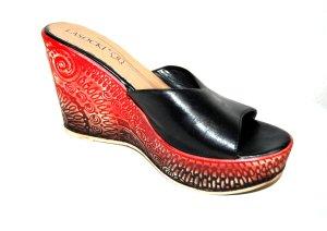 Lasocki Sandalo con tacco nero-rosso scuro Pelle