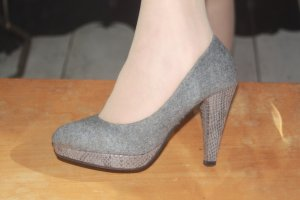 Plateau Pumps 35 grau Tweedstoff
