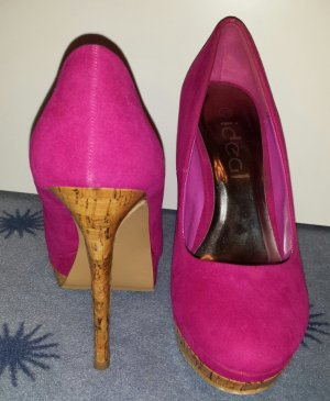 Plateau-Pumps in pink mit Kork