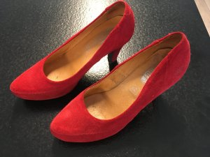 Plateau Pumps von Shoot Gr. 38 Leder wie NEU Sexy Style High Heel RED ROT LUXUS Stylish Sommer Party