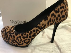 Yves Saint Laurent Plateauzool pumps bruin-zwart
