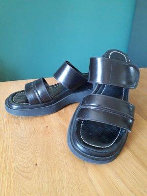 Sandales à plateforme noir cuir