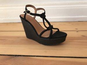 Plateau Sandale Keilabsatz Sandalette schwarz 39