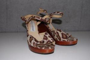 Sandalo con plateau bronzo-sabbia Fibra tessile