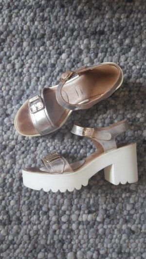 Platform High-Heeled Sandal silver-colored leather