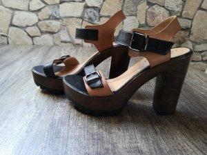 Plateauzool sandalen bruin-zwart Leer