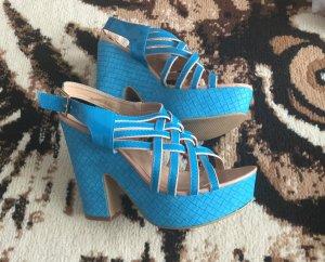 Sandalo con plateau blu neon Finta pelle