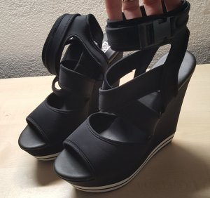 Steve Madden Platform High-Heeled Sandal black-white mixture fibre
