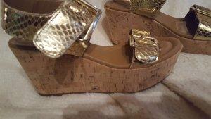 Sandales à plateforme doré cuir