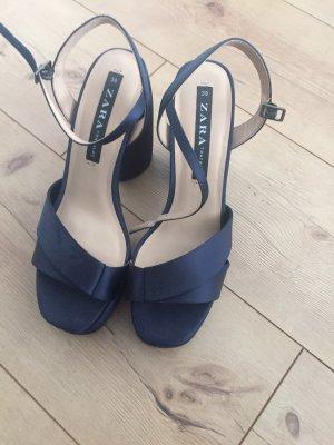 Zara Sandales à talons hauts et plateforme bleu foncé