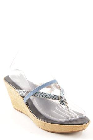 Sandalo con plateau blu fiordaliso motivo animale stile casual