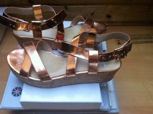 Plateau-Sandalen,metallisch,  nur 1 Mal getragen