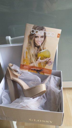 Boohoo Platform High-Heeled Sandal nude-oatmeal