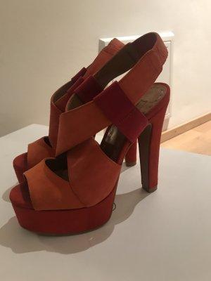 Schutz Platform Sandals red-salmon leather