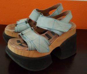 Sandalo con plateau multicolore Pelle