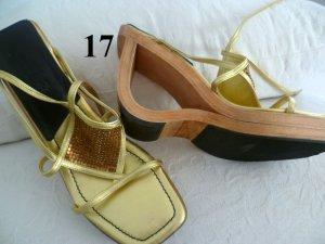 PLATEAU- Sandalette -CALA / made in ITALY - LEDER u. TEAKHOLZ- Gr.36