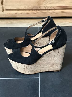 Zara Woman Platform High-Heeled Sandal black-light brown