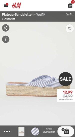 H&M Sandalias de tacón con plataforma blanco-azul pálido
