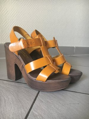 Plateau-Sandaletten aus echtem Leder