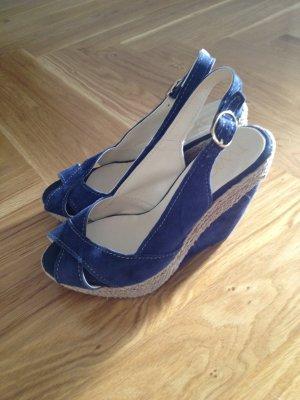 100% Fashion Platform High-Heeled Sandal blue-oatmeal leather